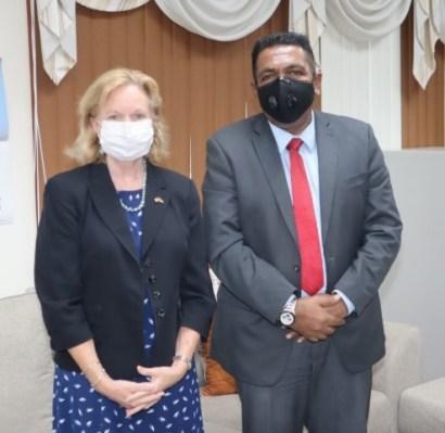 US ambassador to Guyana, Mrs. Sarah-Ann Lynch pays Courtesy call on Minister of Agriculture, Hon. Zulficar Mustapha today.
