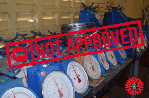 The blue dial scale which the GNBS has not approved for trade. (Photograph courtesy of the GNBS)