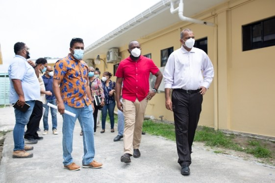 Minister of Health, Hon. Dr. Frank Anthony along with (from L-R) Region Four Regional Health Officer, Mr. Gavinash Persaud and Permanent Secretary at the Ministry, Mr. Malcolm Watkins, during a tour of the Diamond Diagnostic Centre.