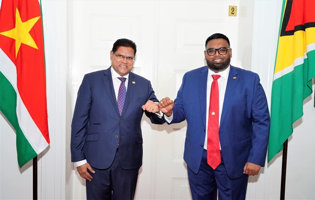 His Excellency Dr. Mohamed Irfaan Ali and Surinamese President, His Excellency Chandrikapersad Santokhi.