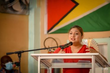 Minister of Education Priya Manickchand delivering remarks during the activity