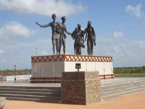 A section of the Indian Arrival Monument