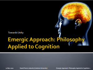 Leibovitz (2010) Emergic Approach- Philosophy Applied to Cognition