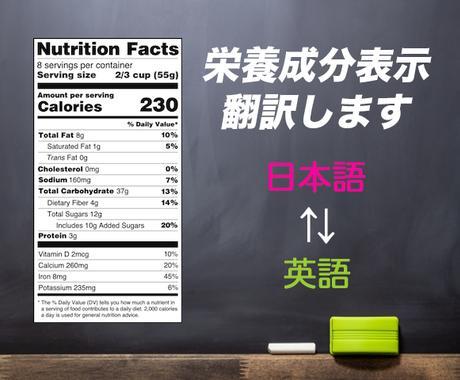 食品の栄養成分表示を日本語⇄英語に翻訳します 食品・サプリメントを輸出・輸入したい方にオススメ ...