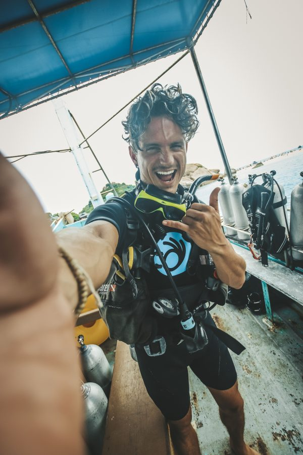 Happy after diving in koh tao