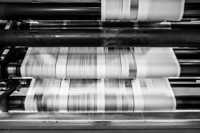 Papers being printed at the Journal and Courier press site
