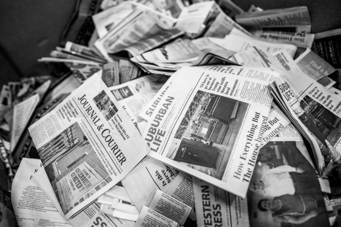 Waste newspaper awaiting recycling at the Journal and Courier press site