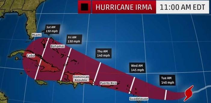 Huracán Irma se fortalece a categoría 5 en dirección al Caribe