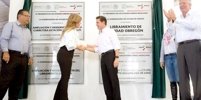 Inauguran Peña Nieto y Pavlovich Arellano nuevo libramiento en Ciudad Obregón