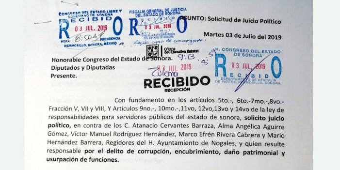 La sacudida del árbol; juicio político contra regidores de Nogales
