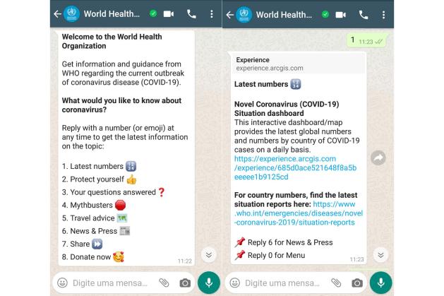OMS cria canal no WhatsApp para divulgar informações sobre o Coronavírus