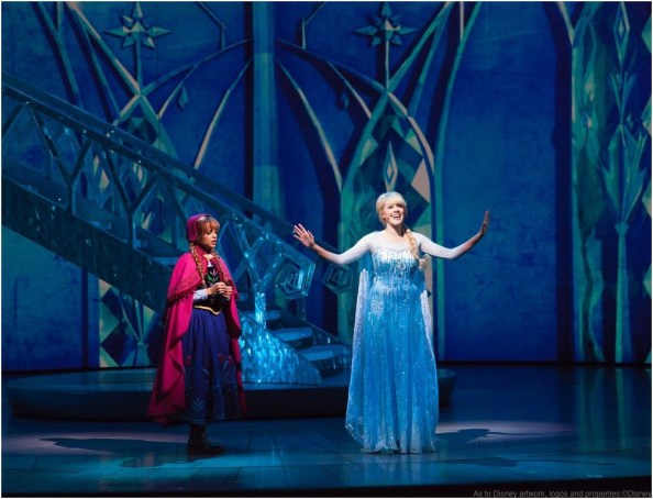 ANNA AND ELSA IN 'FROZEN – LIVE AT THE HYPERION' -- A new theatrical interpretation for the stage based on Disney's animated blockbuster film, Frozen is now playing at the Hyperion Theater at Disney California Adventure Park. The show immerses audiences in the emotional journey of Anna and Elsa with all of the excitement of live theater, including elaborate costumes and sets, stunning special effects and show-stopping production numbers. (Scott Brinegar/Disneyland Resort)