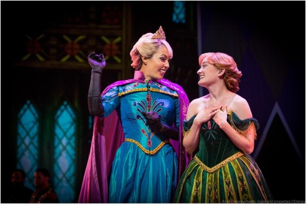ANNA AND ELSA IN 'FROZEN - LIVE AT THE HYPERION' -- A new theatrical interpretation for the stage based on Disney's animated blockbuster film, Frozen is now playing at the Hyperion Theater at Disney California Adventure Park. The show immerses audiences in the emotional journey of Anna and Elsa with all of the excitement of live theater, including elaborate costumes and sets, stunning special effects and show-stopping production numbers.(Piotr A. Redlinski/Disneyland Resort)