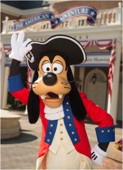 Goofy dresses in his patriotic best to celebrate the Fourth of July at Walt Disney World Resort. Goofy, along with Mickey Mouse and Donald Duck, appear for meet and greets at the American Adventure at Epcot for the holiday. (David Roark, photographer)