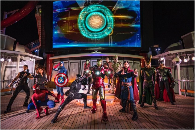 "The ""Marvel Heroes Unite"" deck show during Marvel Day at Sea combines special effects, stunts, pyrotechnics and music to create a sensational stunt show spectacular on the upper decks. The event features all-day entertainment celebrating the renowned comics, films and animated series of the Marvel Universe. (Matt Stroshane, photographer)"