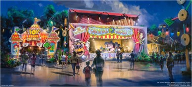 NEW ENTRANCE FOR EXPANDED TOY STORY MANIA! AT WALT DISNEY WORLD RESORT (LAKE BUENA VISTA, Fla.) — Disney's Hollywood Studios at Walt Disney World Resort in Florida will take guests to infinity and beyond when Toy Story Land opens June 30, 2018. This new 11-acre land will transport guests into the adventurous outdoors of Andy's backyard. Guests will think they've been shrunk to the size of Woody and Buzz as they are surrounded by oversized toys. Guests will whoosh along on a family-friendly roller coaster, Slinky Dog Dash, take a spin aboard Alien Swirling Saucers and score high on the midway at the expanded Toy Story Mania! (Disney)
