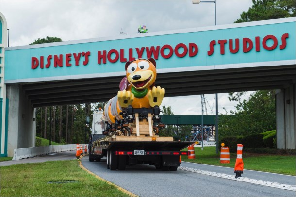 The first Slinky Dog Dash ride vehicle makes its way to Toy Story Land at Disney's Hollywood Studios in Lake Buena Vista, Fla. Slinky Dog Dash is a brand-new family coaster that is part of the all-new Toy Story Land opening summer 2018. Inspired by the playful dachshund spinoff of Slinky®, the classic American toy, Slinky® Dog Dash will send riders dipping, dodging and dashing around turns and drops that Andy has created to stretch Slinky® and his coils to the max. (Steven Diaz, photographer)