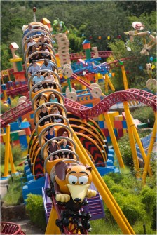 Slinky Dog's coils twist and turn around the curves, hills, and drops of Slinky Dog Dash at Toy Story Land at Disney's Hollywood Studios. The family-friendly coaster is inspired by the hit Pixar Animation Studios' Toy Story films, and is Disney's first coaster with a double-launch. Walt Disney World Resort guests get to race and dive around a track that stretches across Toy Story Land. (David Roark, photographer)