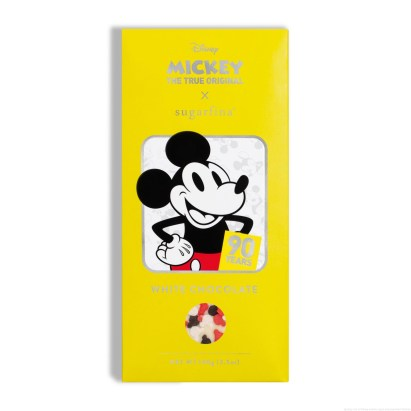 Licensee: Sugarfina MSRP: $9.95 Description: Mickey Mouse plus chocolate makes for the most loveable anniversary celebration ever! Delicious white chocolate from Paris is topped with Mickey-shaped sprinkles, wrapped up in illustrations of Mickey's iconic looks through the years. 'Ah shucks,' we're crushing on this collection Availability: 8/21 Retailers: Sugarfina boutiques and at http://www.Sugarfina.com