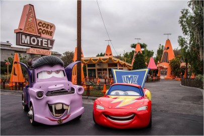 CARS LAND HAUL-O-WEEN (ANAHEIM, Calif.) - Everyoneís favorite Cars characters will transform Radiator Springs into their own Haul-O-Ween celebration during Halloween Time at the Disneyland Resort, Sept. 7-Oct. 31, 2018. The Cars characters will be donning their Halloween ìcar-stumesî as they greet guests and prepare to go ìtrunk-or-treating.î Mater will be wearing his vampire or ìvan-pireî outfit, while Lightning McQueen is dressed as a super hero. Cruz Ramirez, Red the Fire Truck and DJ will get dressed up as a pirate, a clown and a punk rocker, respectively. (Joshua Sudock/Disneyland Resort)