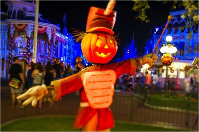 """This artful Jack-O-Lantern bandleader strikes up a few frightfully fun tunes on Main Street, U.S.A. in the Magic Kingdom. It's all part of the decorations in place for Mickey's Not-So-Scary Halloween Party held annually at the theme park. The family-friendly after-hours event offers trick-or-treating, meet and greets with favorite characters in costume, plus the must-see """"Mickey's Boo-to-You Halloween Parade"""" and """"Happy HalloWishes"""" fireworks display. Mickey's Not-So-Scary Halloween Party is a special ticket event and takes place on select nights each fall at Walt Disney World Resort in Lake Buena Vista, Fla. (Ali Nasser, photographer)"""