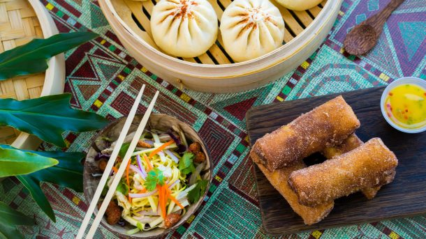 Located on the Jungle River shores in Adventureland at Disneyland Park, The Tropical Hideaway is the destination for extraordinary worldly eats. Menu items include warm steamed bao buns, chilled ramen salad, Sweet Pineapple Lumpia, Dole Whip and more. Disneyland Park is located in Anaheim, Calif. (David Nguyen/Disneyland Resort)