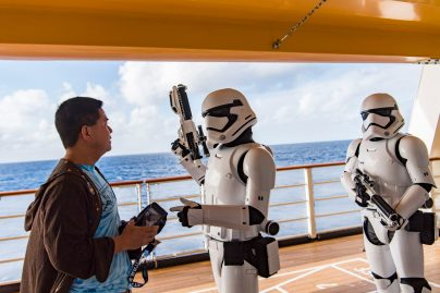 Surprise encounters with Stormtroopers and other Star Wars characters are part of the Star Wars Day at Sea experience. The day-long event celebrates the legendary adventures and iconic characters from the Star Wars saga. (Matt Stroshane, photographer)