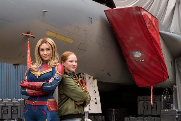 Captain Marvel encounters guests at Hangar 12 in Disney California Adventure Park, inspiring them to go Higher, Further, Faster, as her jet fighter is being readied for a special mission. Disney California Adventure Park is located in Anaheim, Calif. (Joshua Sudock/Disneyland Resort)