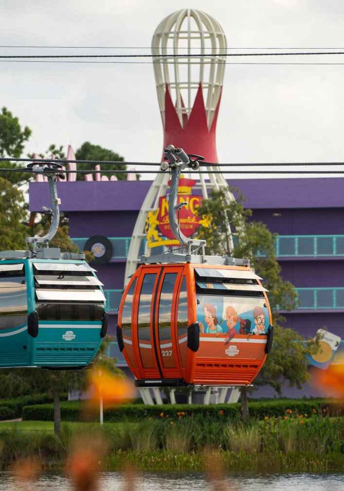 Disney Skyliner will begin carrying guests high above Walt Disney World Resort in Lake Buena Vista, Fla., on Sept. 29, 2019.The state-of-the-art transportation system will feature custom cabins that glide through the air, conveniently transporting guests between Disney's Hollywood Studios and Epcot to four resort hotels – Disney's Art of Animation Resort, Disney's Caribbean Beach Resort, Disney's Pop Century Resort and the new Disney's Riviera Resort, scheduled to open in December 2019. (David Roark, Photographer)