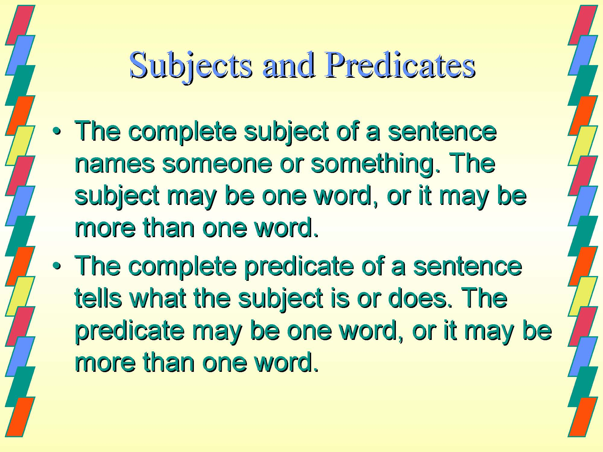 Notes On Subject Predicate For Class Vi Illuminate Your