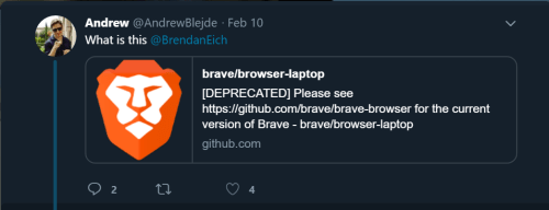 A Twitter user tweeted and tagged Brendan Eich, CEO of Brave Software, asking what the new update on the browser's repo meant in terms of the security aspect of Brave.