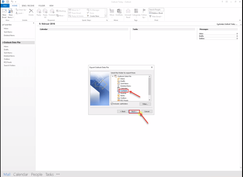 How to Import and export contacts in MS Outlook 2016
