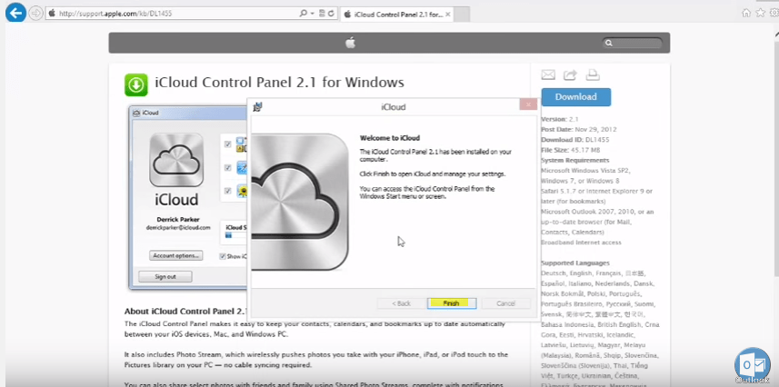 Connecting to an iCloud Account in Microsoft Outlook