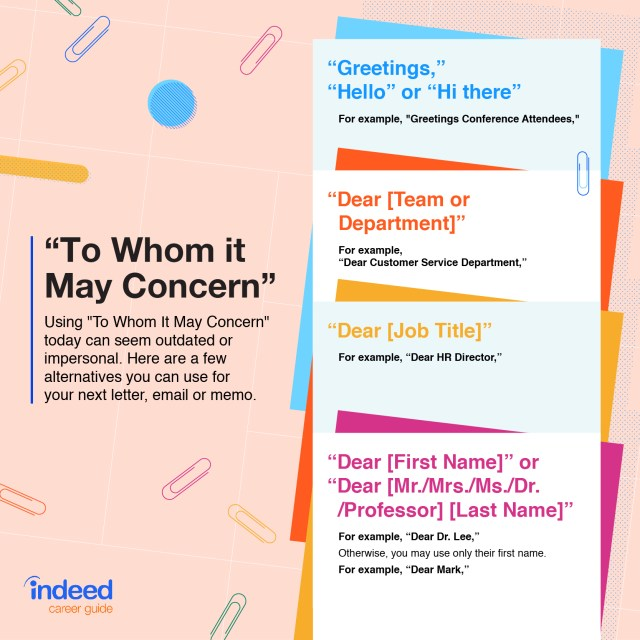 """When to Use the Phrase """"To Whom It May Concern""""  Indeed.com"""