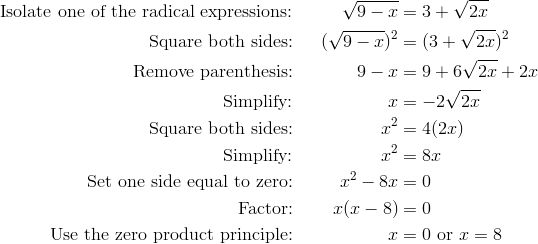 \text{Isolate one of the radical expressions:} && \sqrt{9