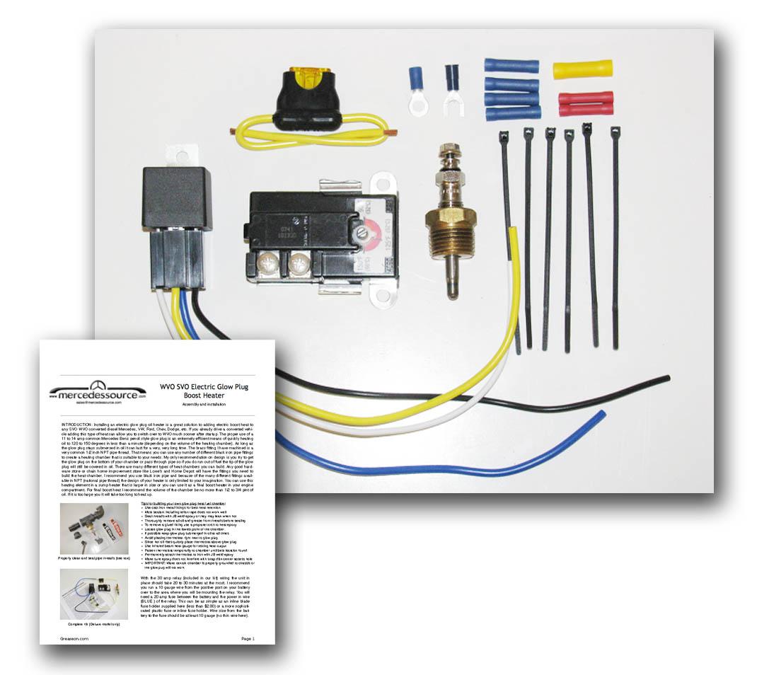 hight resolution of svo wvo electric glow plug fuel heater standard installation kit mercedessource kits product mercedessource com