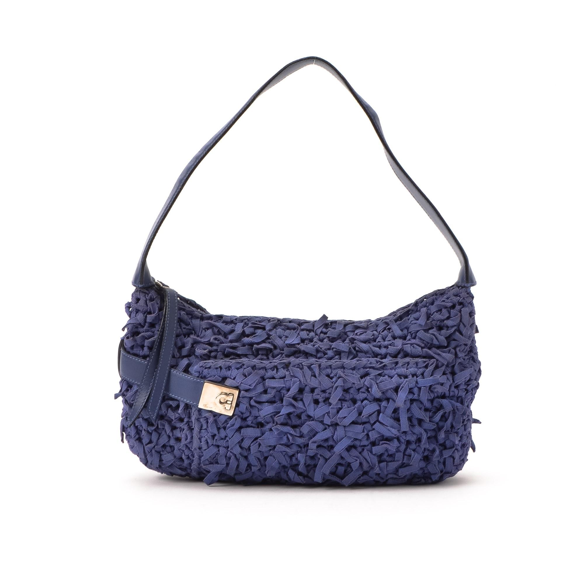 Ferragamo Shoulder Bag Gancini Lilac Cotton Shoulder Bag