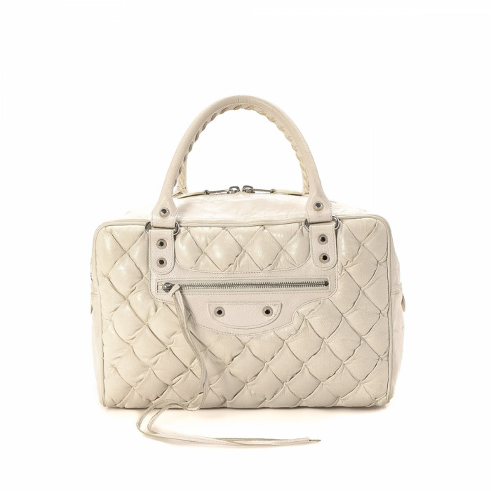 Balenciaga Quilted Matelasse Ivorie Leather Handbag