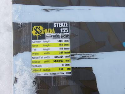 1スノーボードVOLKL STEAZE