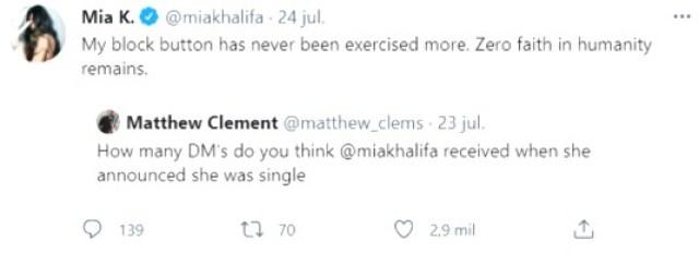 Mia Tuit - La drástica medida que debió tomar Mia Khalifa después de anunciar su separación