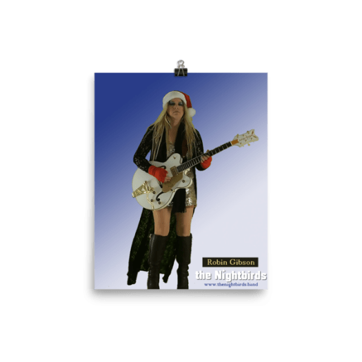 Christmas Poster Robin Gibson of the Nightbirds with Gretsch White Falcon Guitar 00010