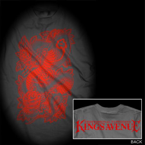 Cobra & Roses T-shirt: Asphalt Gray/Red 00031