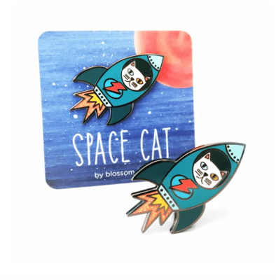 Space Cat Enamel Pin by Blossom and Cat