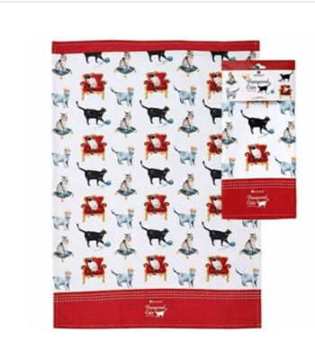Pampered Cats tea Towel by Ashdene