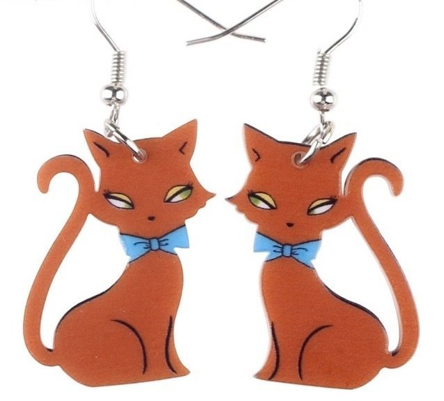 Retro Acrylic Cat Earrings- BROWN