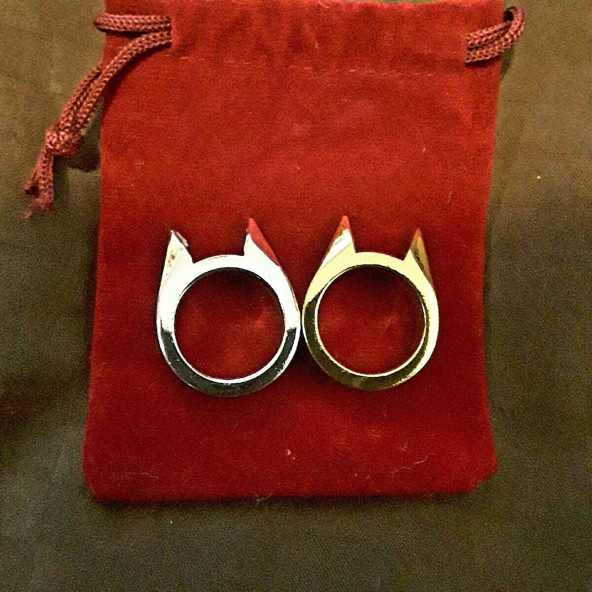 Silver/Gold Cat Ears Ring