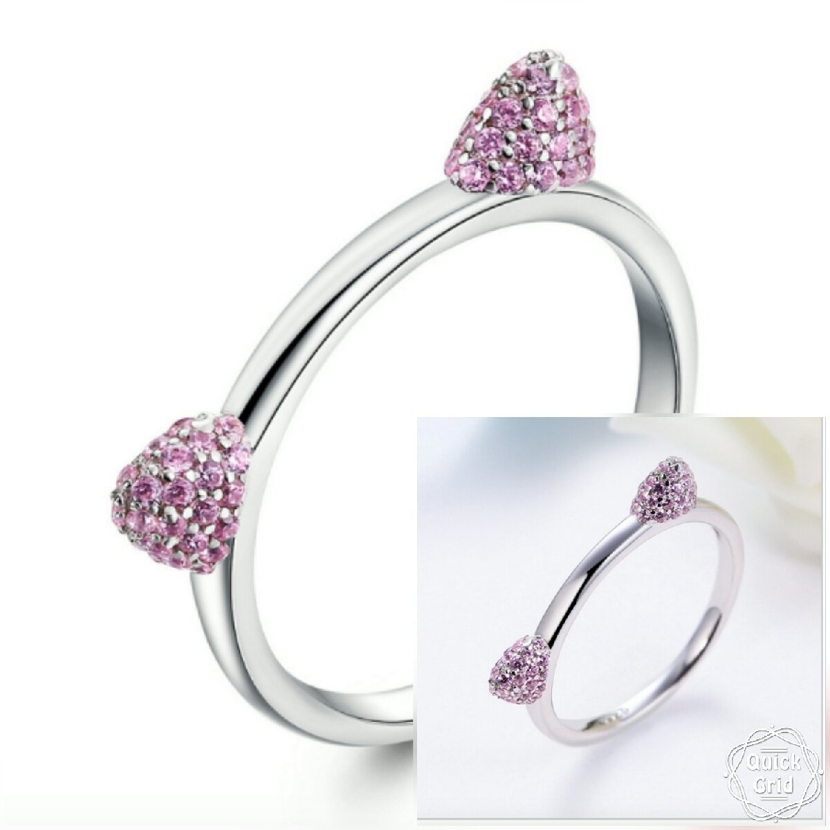 Cubic Zirconia Cat Ears Ring