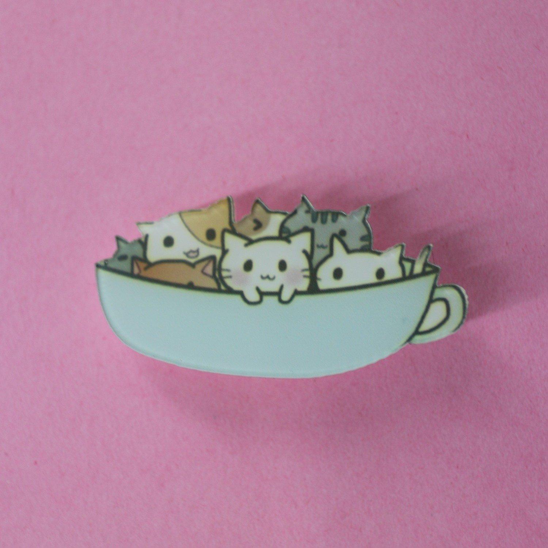 Cup o' Cats Acrylic Brooch