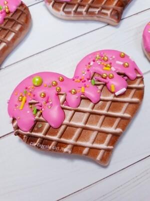 Waffle Cone Sugar cookie heart - Vanilla