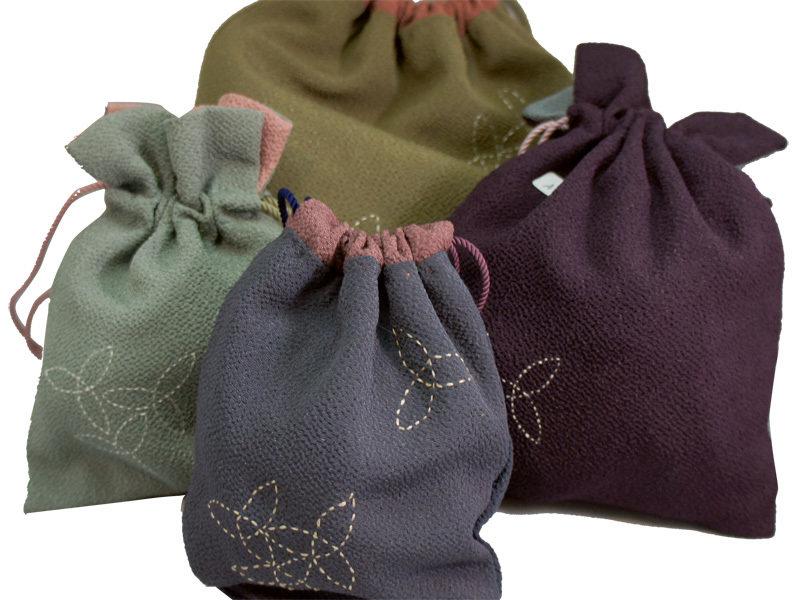 Kinchaku Drawstring Bag / Crepe fabrics HS_Kinchaku